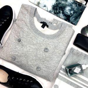 J. Crew Gray Pom Pom Sweatshirt